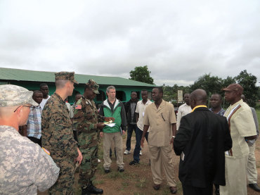 Flaherty discusses the Ebola outbreak with county health officials while visiting C.H. Rennie Hospital  in Margibi County, Liberia