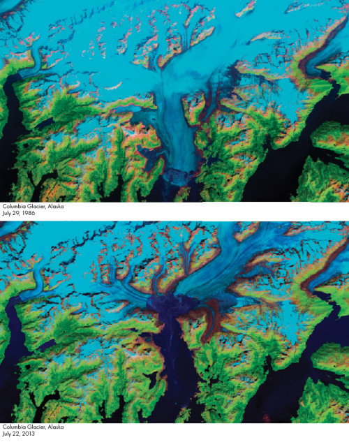 Photo by Jesse Allen and Robert Simmon, using Landsat 4, 5 and 7 from the USGS Global Visualization Viewer