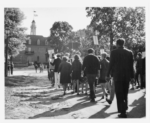 W&M students protest during the 1970s.