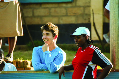 Smith with the head coach of the women's national team in Rwanda, Grace Nyinawumuntu, the first female coach in the country's history.