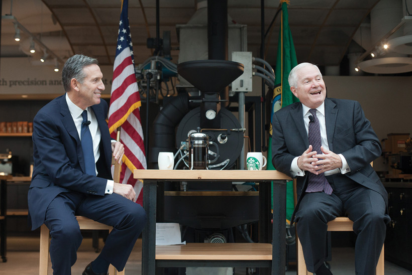 WELL MET: Starbucks CEO Howard Schultz (left) and former Secretary of Defense and W&M Chancellor Robert M. Gates '65, L.H.D. '98 have been staunch advocates of improving opportunities for veterans.