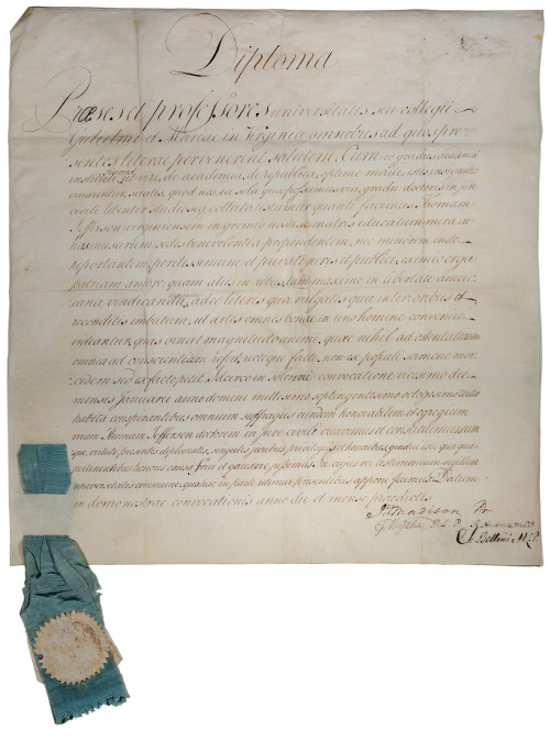"""DIPLOMATIC: Careful wording on Thomas  Jefferson's 1783 honorary degree indicates that  William & Mary was variably known as both  """"College"""" and """"university"""" at the time."""
