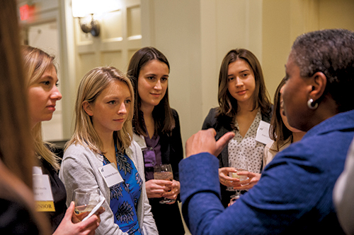 making connections: Students networked with business leaders during the summit.