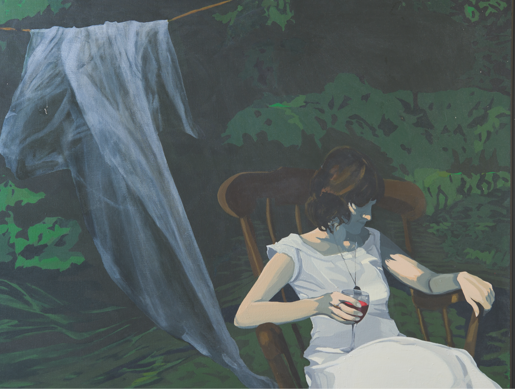Stylizing image of woman sitting in a rocking chair with a white dress