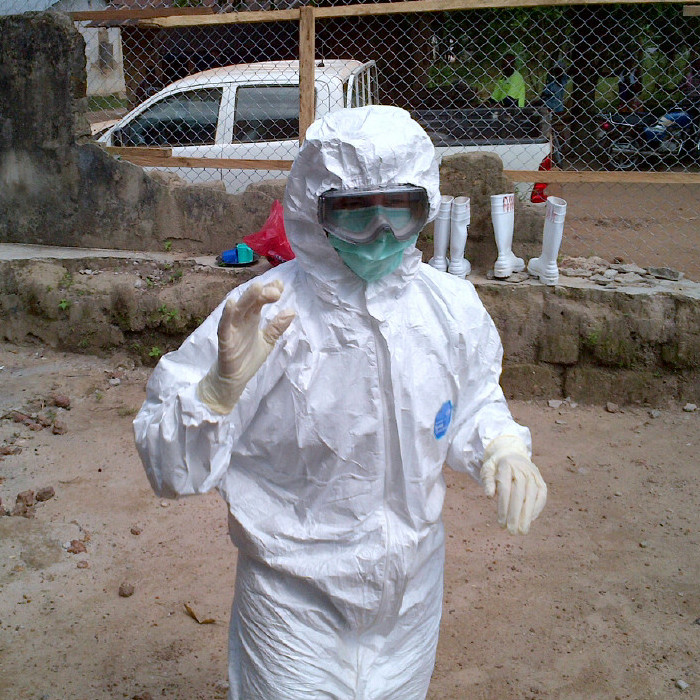 Megan Casey is shown in Sierra Leone, where she evaluated hospital and clinic infection control practices during the Ebola outbreak. Credit: Megan Casey